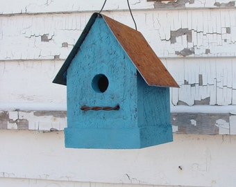 Rustic Birdhouse, Primitive Birdhouse, Cottage Birdhouse, Garden Decor Birdhouse, Simple and Sweet Turquoise Blue