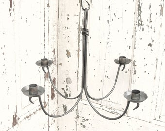 Forged Iron Chandelier Candle Holder Hanging Candleholders Handmade by Blacksmith