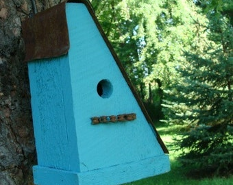 Reclaimed Bike Chain Birdhouse Rustic Cottage Bird House Turquoise Blue Wooden Home