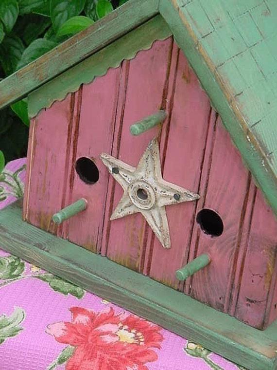 Cottage Birdhouse Pink Bird House Rustic Birdhouses