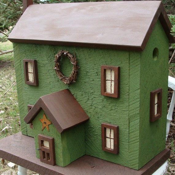 Colonial Birdhouse Woodland Earth Cottage Moss Green Brown