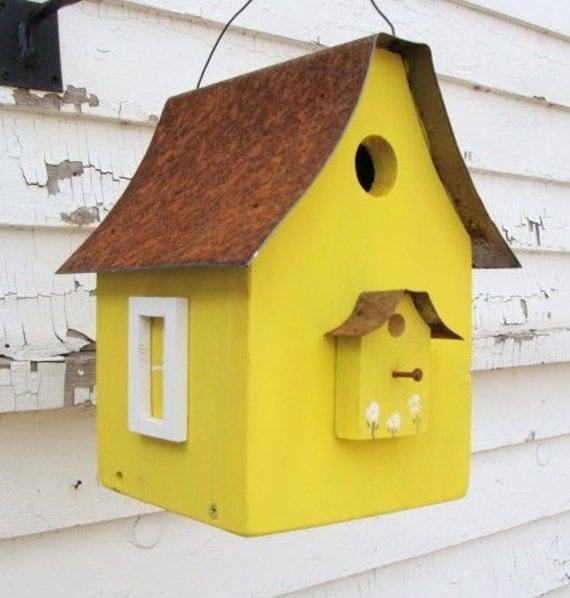 Rustic Birdhouse Yard and Garden Art Bird House Cottage Beach Garden Decorative Birdhouses Lemon Yellow