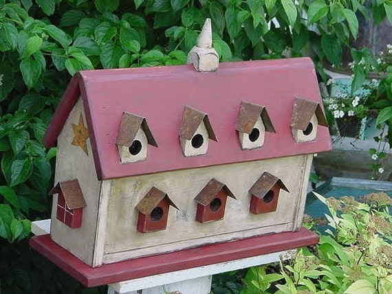The Barn Birdhouse Antique White & Old Red Rustic Metal Dormers Farmhouse Primitive French Country