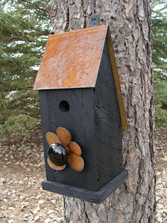 Rustic Birdhouse Reclaimed Metal with Vintage Door Knob Black Birdhouses Forged Iron by Blacksmith
