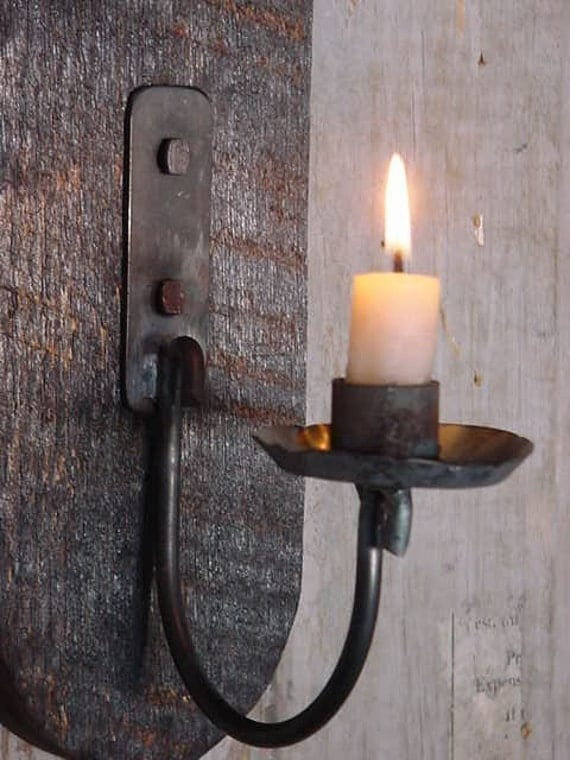 Wall Candle Sconces Wood : Wall Lighting Candle Sconce Primitive Early by baconsquarefarm