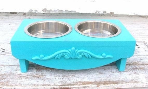 Dog Bowl Holder Elevated pet Feeder Raised Feeding Station Dog Dish Painted Dog Furniture Beach Cottage Marine Aqua Blue