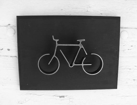 Metal Bike Wall Art Sign Bicycle Wall Hanging Home or Office Decor Groomsman Gift Modern Black