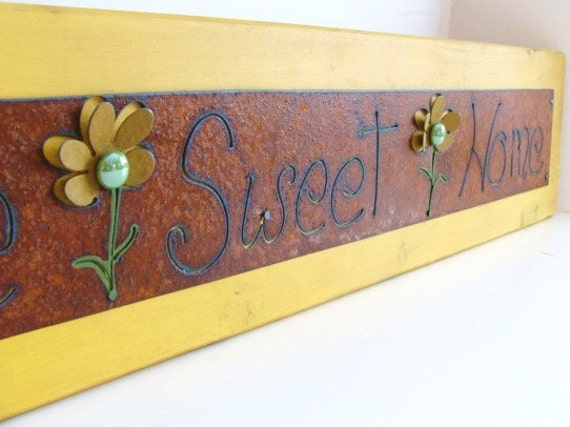 Rustic Sign Metal Art Sign Home Sweet Home by baconsquarefarm
