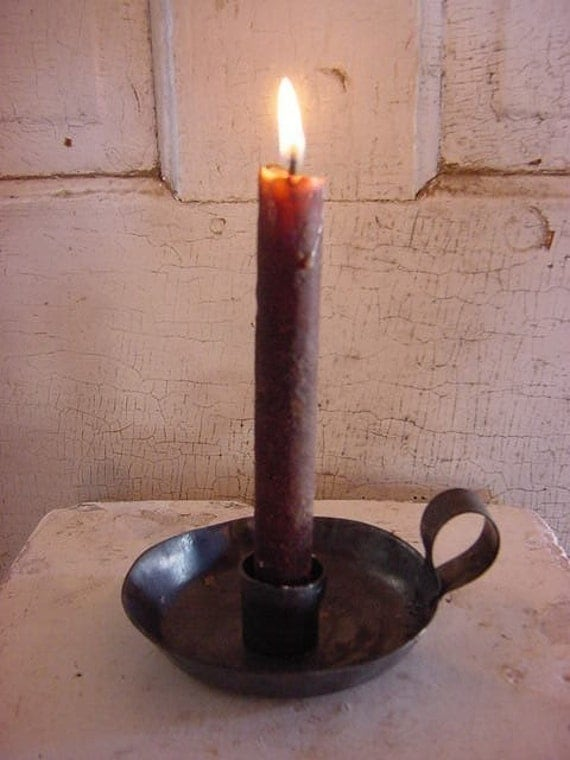 Candlestick Candle Holder Early Chamber Lighting Primitive Farmhouse Make Do Hand Forged by Blacksmith