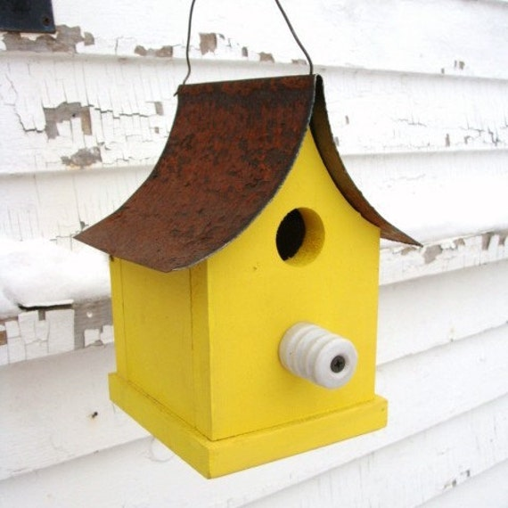 Yellow Bird House Recycled Insulator Perch Rustic Metal Roof Cottage French Country
