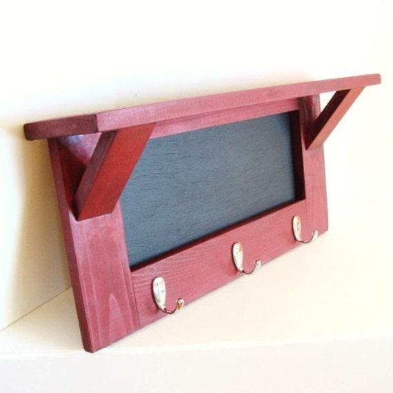 Wood Shelf Chalkboard Shelf Key Hooks Rack by baconsquarefarm