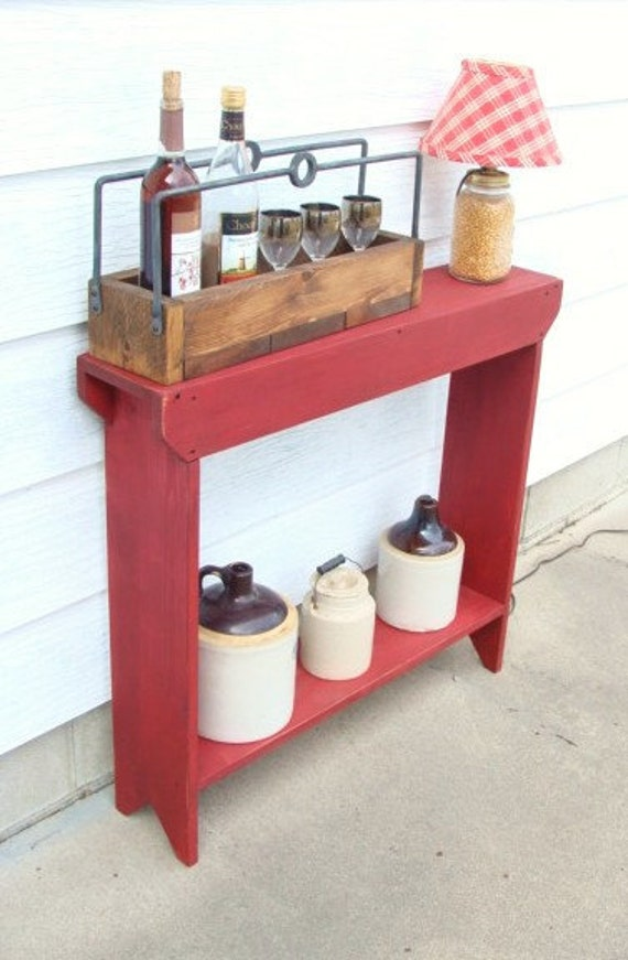 Foyer Table Red : Red narrow console table with shelf entryway french