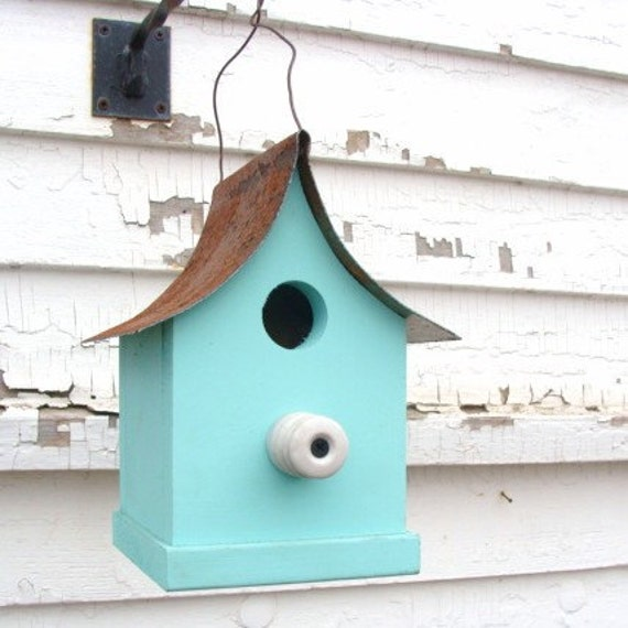 French Country Birdhouse Farm insulator Perch Cottage Beach Coastal Aqua