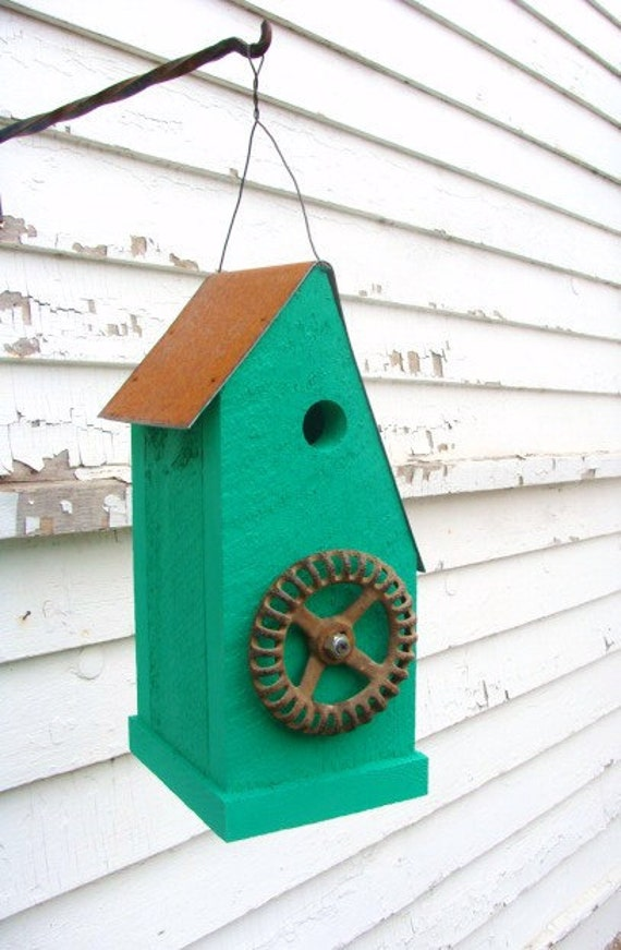 Rustic Upcycled Birdhouse Large Decorative Emerald Bird House Garden n Home Decor
