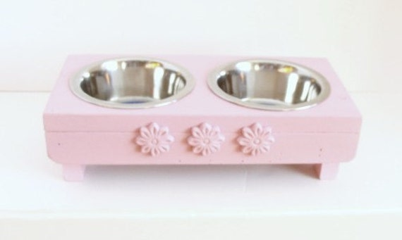 Pink Cat Bowl Holder Dog Feeder Raised Feeding Station Cat Bowls Dog Bowls Rosette Flower Accents