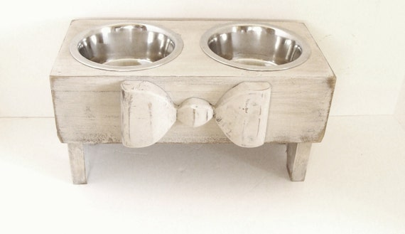 Elevated Dog Feeder, Dog Bowls, Raised Dog Feeder, Dog Feeder, Cat Bowls, Elevated Dog Bowls, Gift for Pet Lover, Custom, Antique White