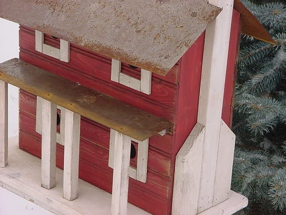 Primitive Rustic Colonial Birdhouse Red With White Pillars