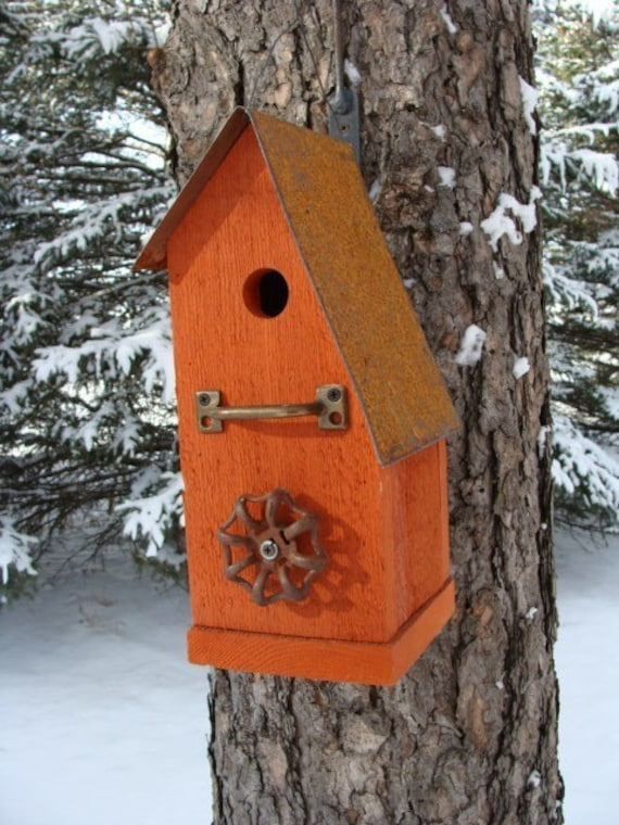 Rustic Auturmn Harvest Orange Reclaimed Birdhouse