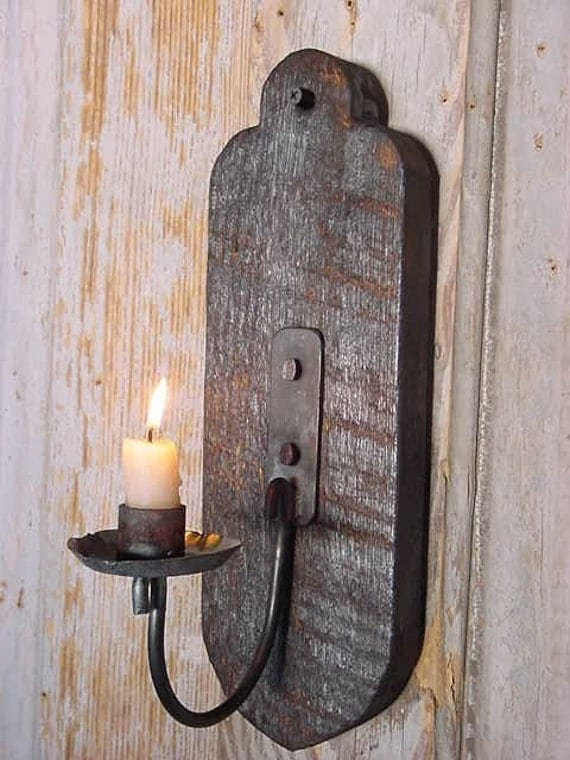 Metal Candle Sconce Blackened Wood Primitive By