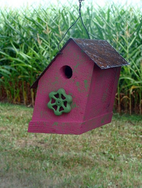Rustic Cottage Birdhouse - Raspberry Pink Wooden Functional Bird House