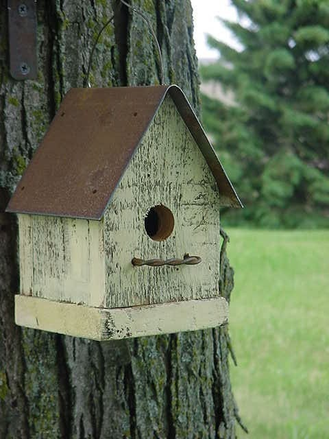 Primitive Yellow Birdhouse Shabby Cottage Simple N Cute