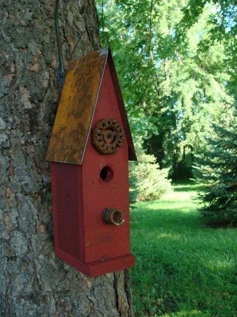 Old red rustic birdhouse decorative wood bird house garden or - Decorative bird houses ...
