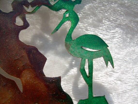 Crane and Pine Bookmark, Papercutting Art, Zen Bonsai Garden