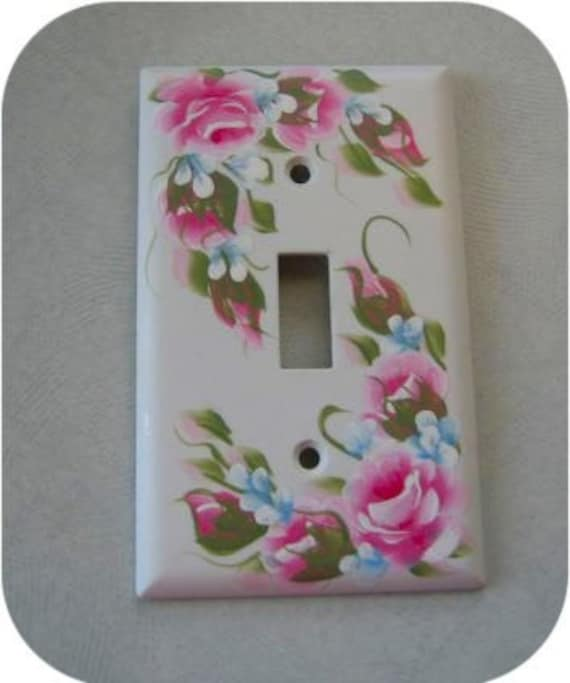 Hand Painted Pink Roses Single Light Switch Plate By Rosesetc