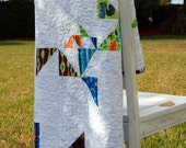 Baby Quilt - Beautiful Bits and Pieces Confetti on White Quilt, perfect for baby boy