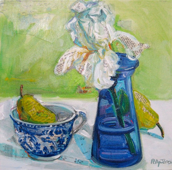 White Iris with Pear and Blue Willow original mixed media painting