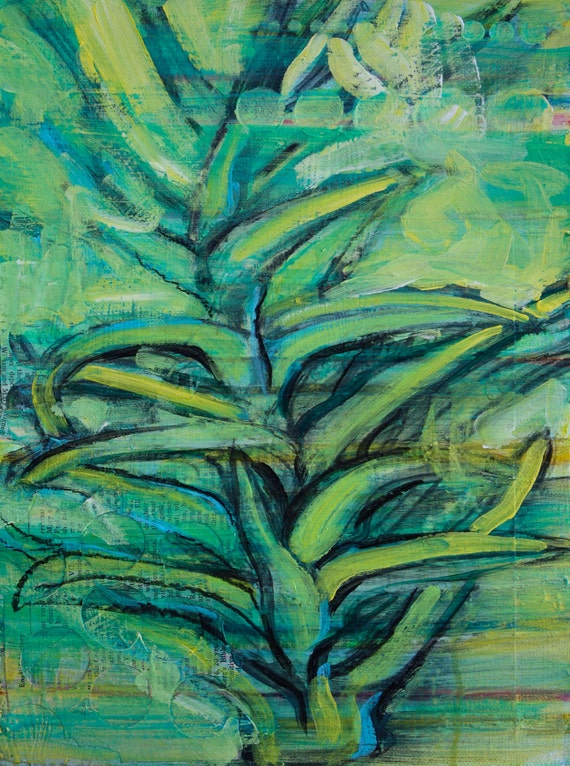 20% off with coupon code 20off2014 Aloe Vera mixed media painting by Polly Jones