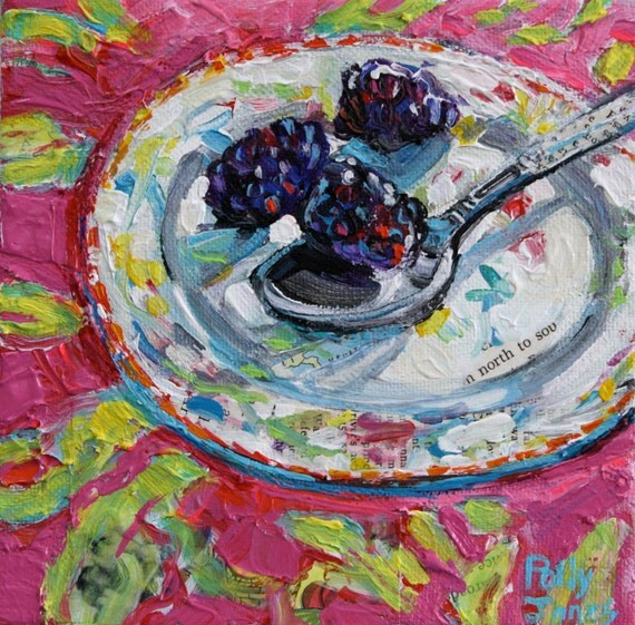 Blackberries North to South original mixed media painting by Polly Jones