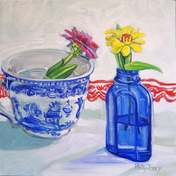 Half Price SALE Bouquets of One original 12 inch square painting
