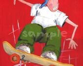 Skateboard Kids Wall Art Print 8x10