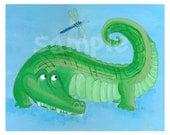 Crocodile Nursery Art Print 8x10