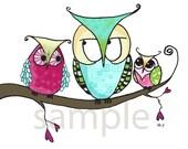 Kids Owl Art Print 8x10