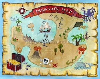 Pirate Art, 8x10 Pirate Treasure Map Print