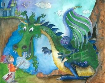Dragon Nursery Art Print 8x10