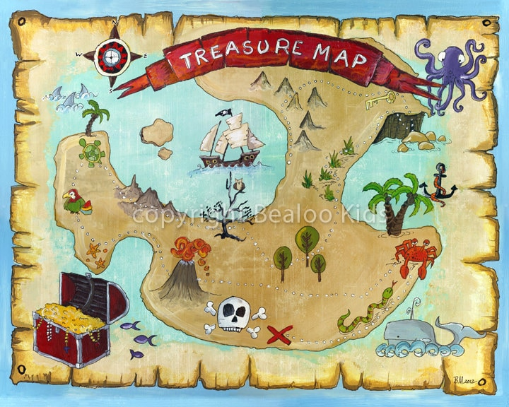 Versatile image with pirate treasure map printable
