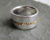 Modern rough diamond silver band ring, set with raw yellow diamonds, artisan metalsmith, size 7.25
