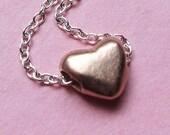 Tiny heart bracelet - rose gold -pink gold - artisan metalsmith - ready to ship - slider bracelet - mothers day gift