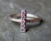 Modern ring - pink sapphire - geometric stack ring - 5 stones - recycled sterling silver - size 7 - ready to ship - metropolis