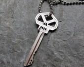 "Modern skull key necklace, punk, artisan metalsmith, white brass metal, unisex, 20"""