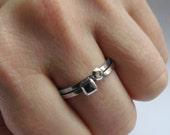 Mini diamond ring - faceted stack rings - minimalist rings - modern silver stack rings - geometric jewelry -  mini Modern Rock set -size 7