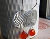 Tangerine orange chalcedony - zebra stripe - sterling silver modern - tribal earrings - made to order