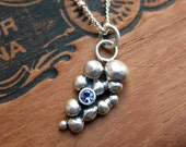 """Tanzanite necklace - silver pebble necklace - recycled sterling silver - artisan jewelry - tanzanite jewelry - ready to ship - 16"""" chain"""