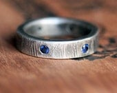 Custom listing for A: Sapphire wedding ring - rustic wedding band - blue sapphire band - mens wedding ring, sterling silver recycled