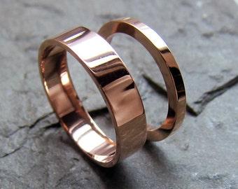 Rose gold wedding ring set, 14k recycled rose gold wedding band, wedding ring set 2mm and 4mm wide bands, modern wedding band, custom made