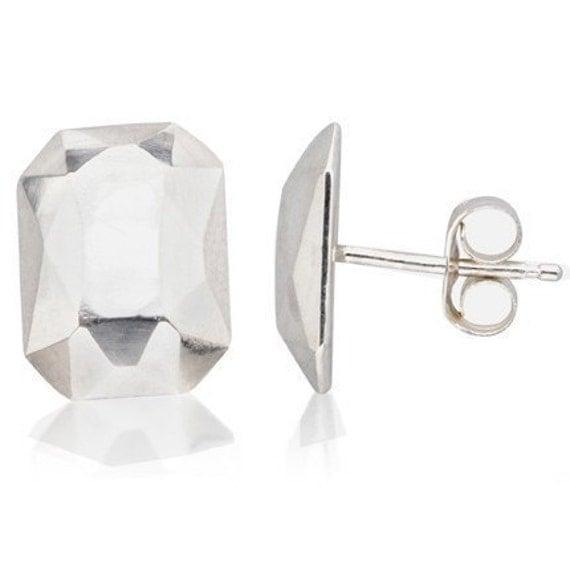 Faceted emerald cut studs, diamond like earrings, sterling silver, Modern Rock emeralds