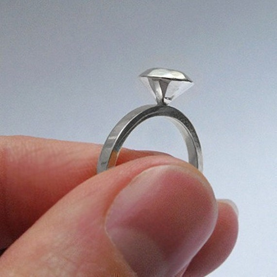 Modern diamond engagement ring - recycled sterling silver - Worn by Vanessa Hudgens - Original Modern Rock Ring in Silver